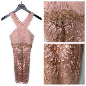 Sue Wong Pink Beaded Crossed Halter Dress